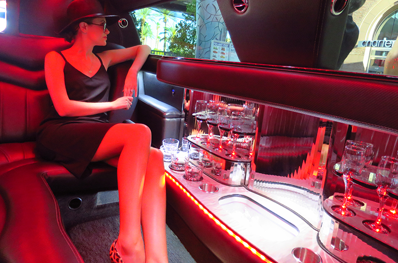 Interior of limousine with woman