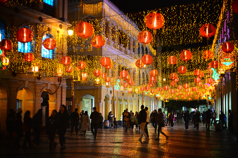 Senado Square at night for Lunar New Year