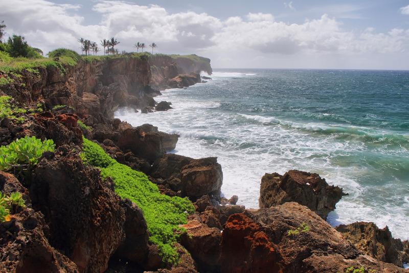 A view of the cliffs along Mahaulepu Beach