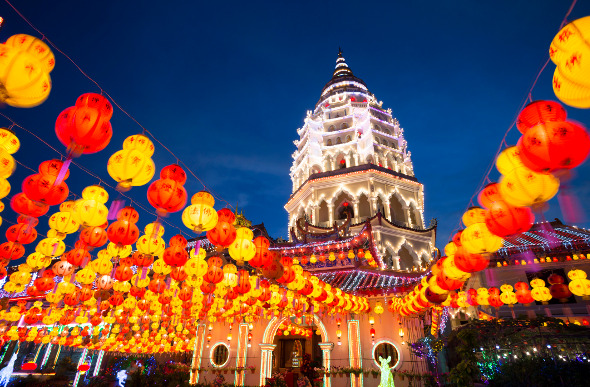 Kek Lok Si Temple lights up George Town. Picture: Getty Images