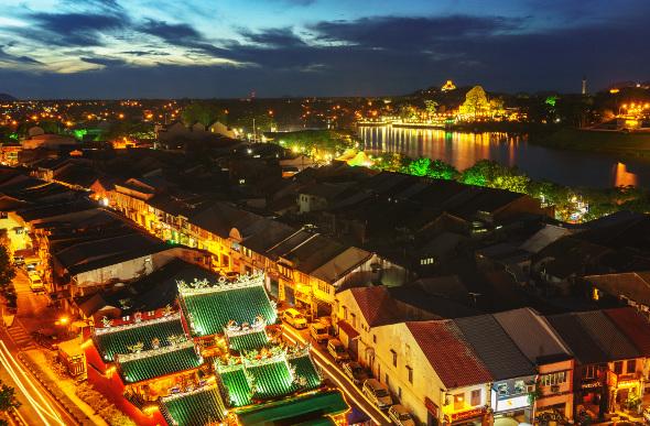 Kuching, Malaysia, by night.