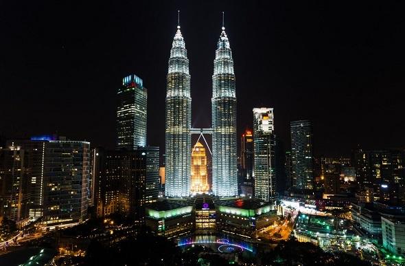 Kuala Lumpur skyline view by night