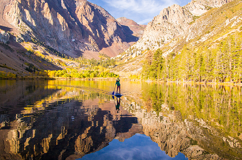 Stand-up paddleboarding on Parker Lake, California