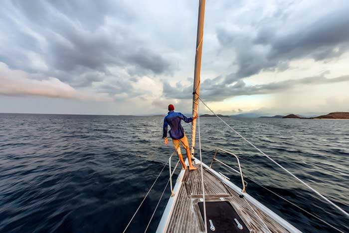 man on sailing boat