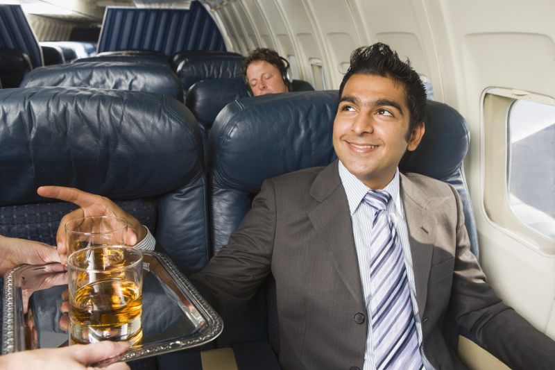Drink service on plane