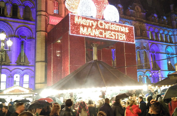 A Christmas market in Manchester.