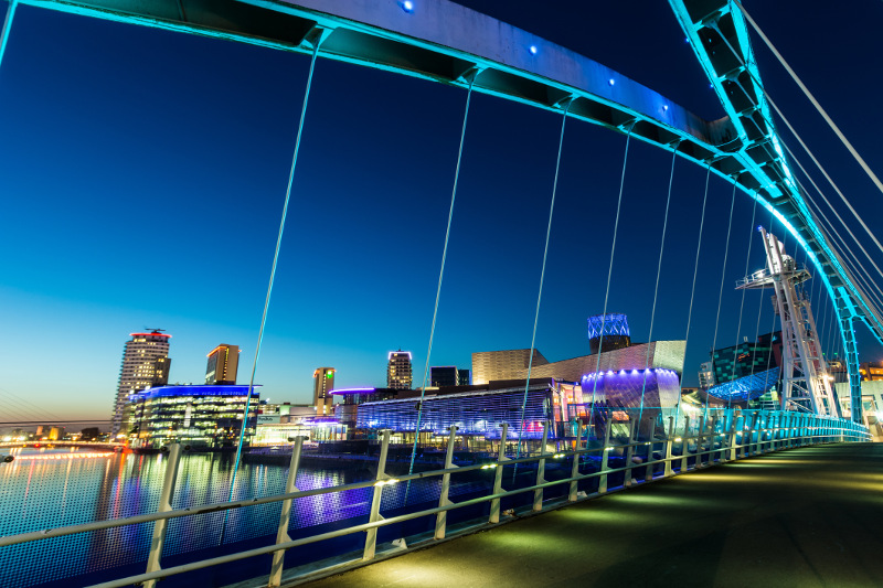 The Salford Quays area of Manchester at night