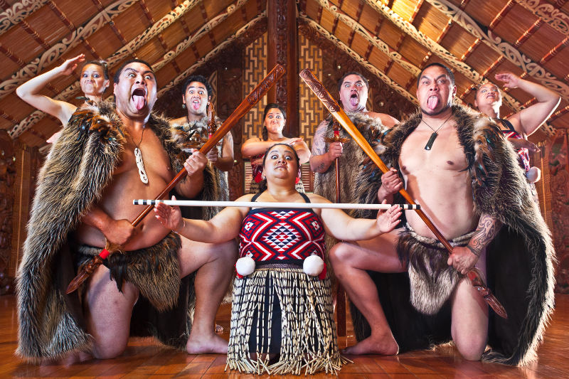 Maori dancers in traditional dress at the Waitangi Treaty Grounds.