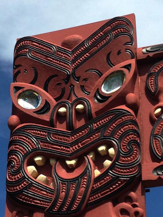 A Maori carving at Mataatua