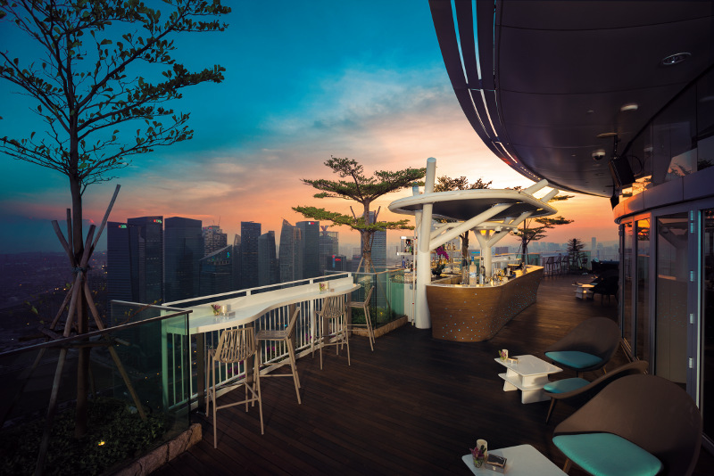 Rooftop bar overlooking Singapore