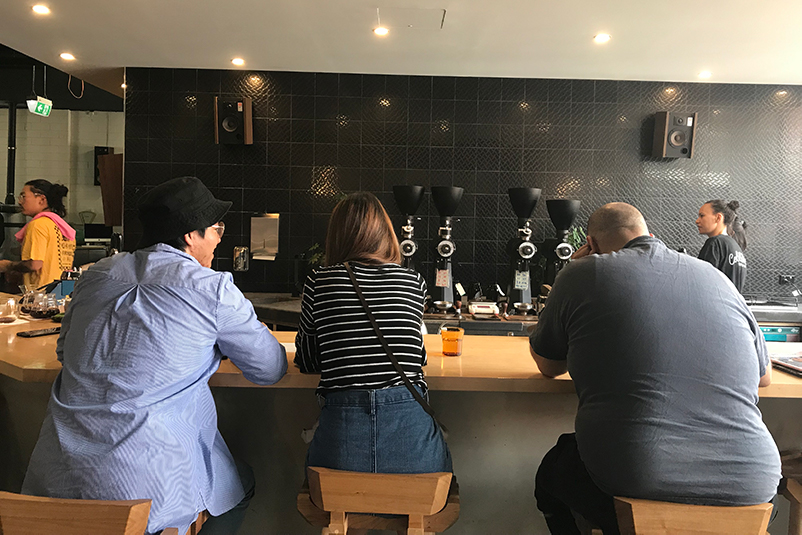 The cupping counter at Aunty Peg's Brew Bar, Melbourne