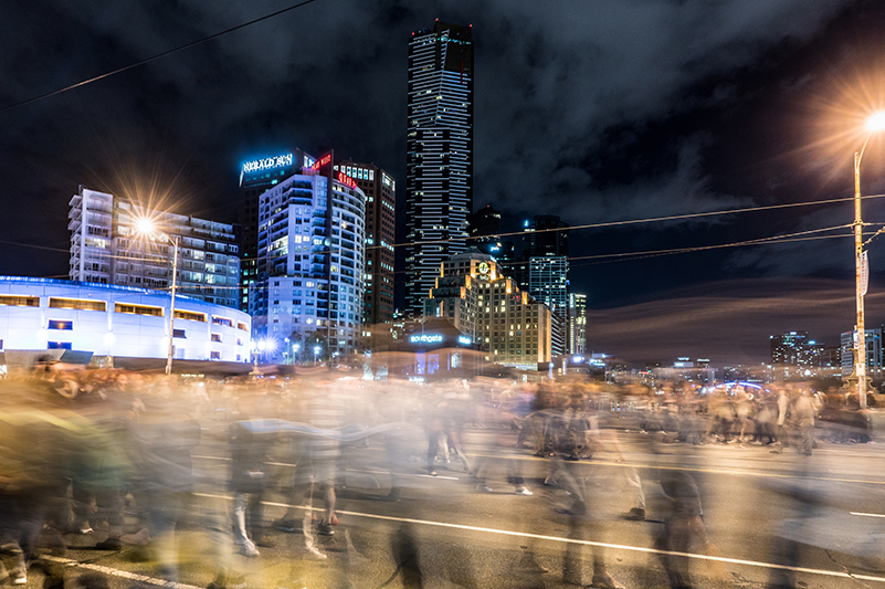 Night-time shot of Melbourne CBD