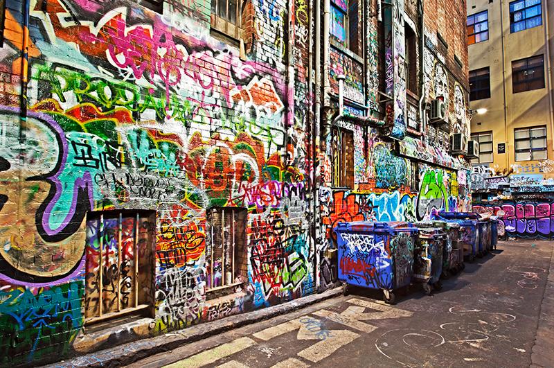 A graffiti alley in Melbourne's Hosier Lane.