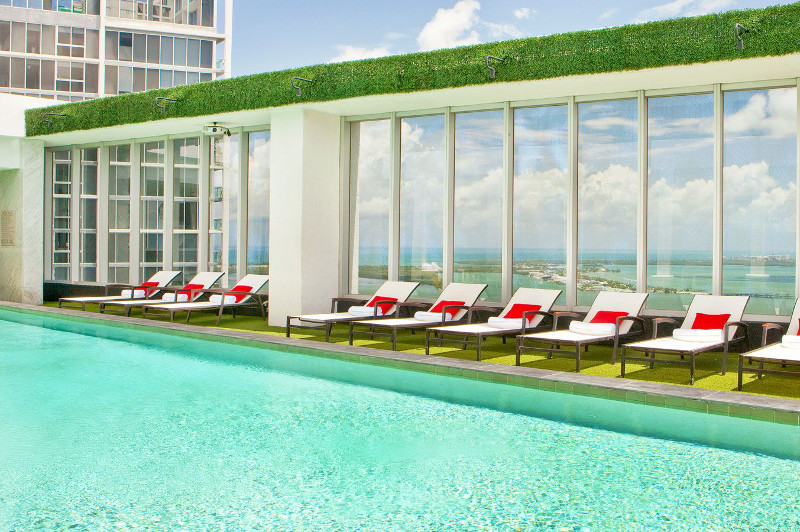 The pool at the W Miami hotel.