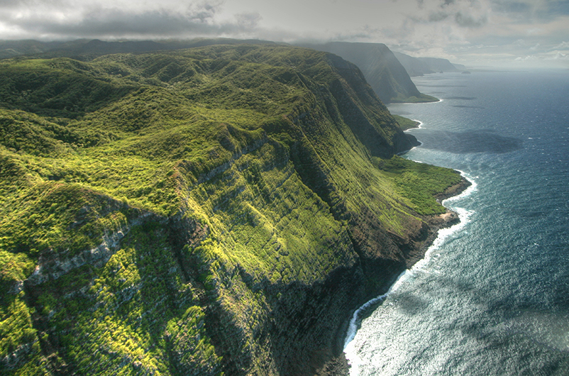 Aerial view of cliffs on Molokai