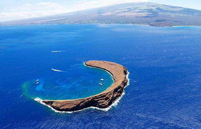 Molikini Crater, Hawaii. Popular for snorkelling and diving