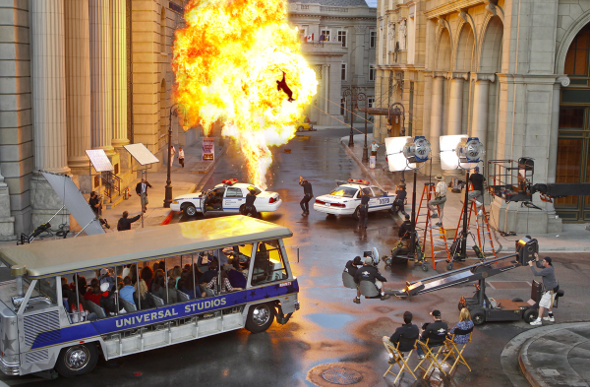 A fiery explosion at the Universal Studios Hollywood back lot.