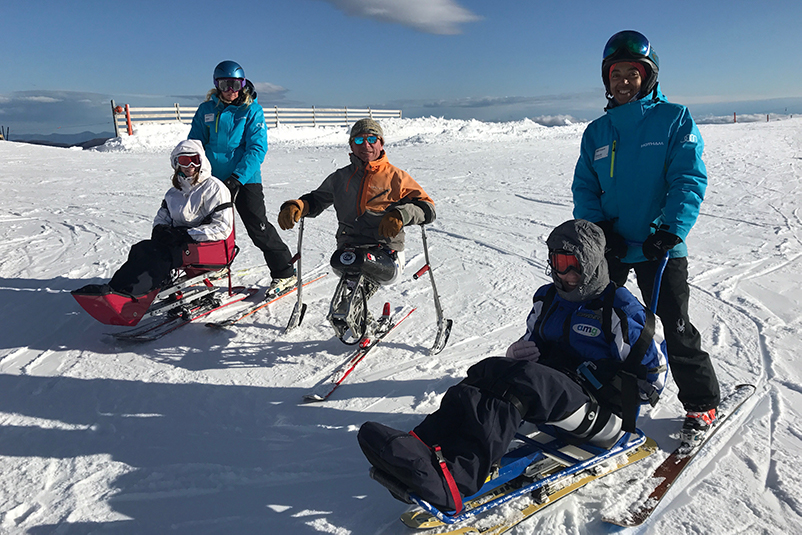 Adaptive skiers at Mount Hotham