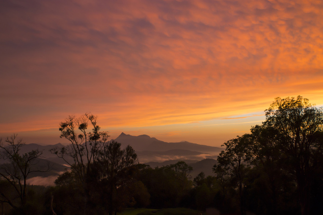 Sunset over Mount Warning National Park
