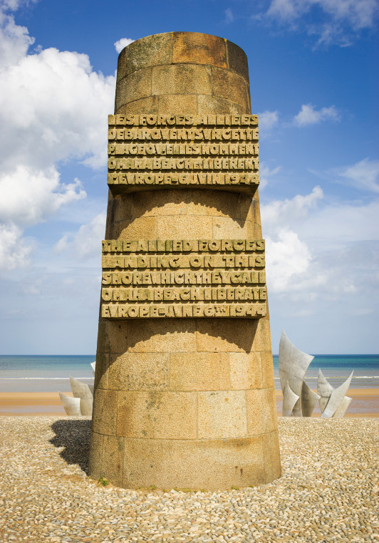 A monument at Omaha Beach in France.