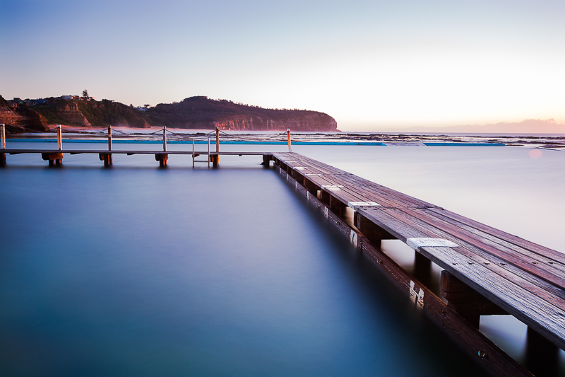 narrabeen pool with timber boardwalk