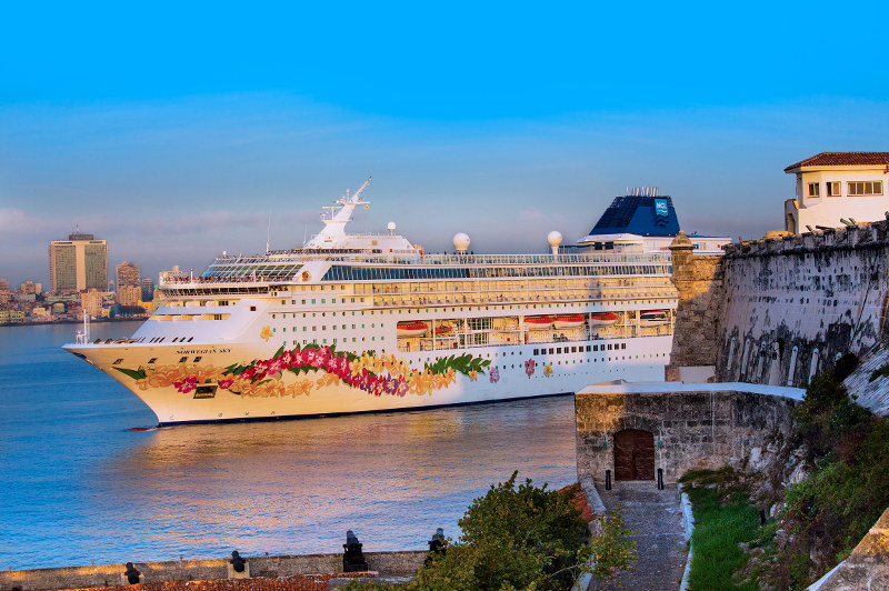 The Norwegian Sky cruise ship in Cuba's Havana port.