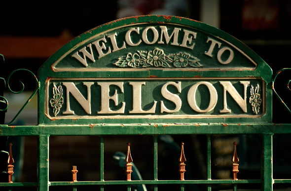 The Nelson town sign