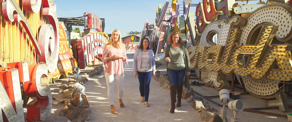 travel consultants greer and kelly in neon museum las vegas