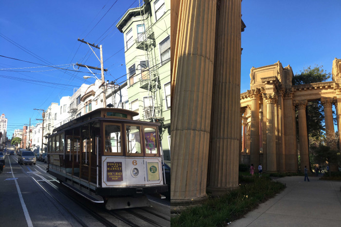 The Powell line tram and The Palace of Fine Arts in the Marina District.