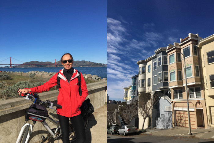 The author on a bike tour headed across the Golden Gate Bridge and some of the pastel hued houses of the city.