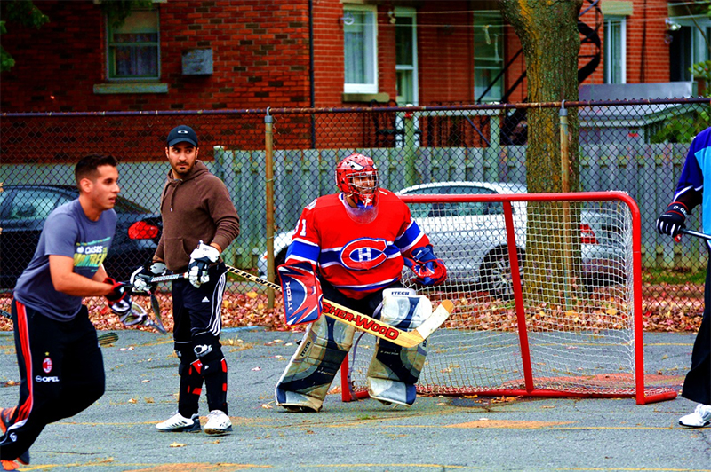A street game of hockey in Montreal