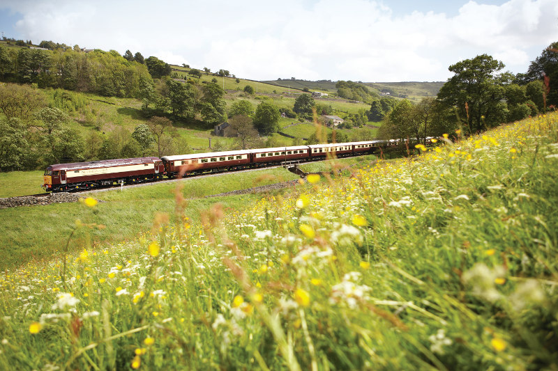 Belmond train through countryside