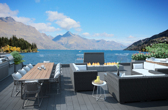 A spa terrace at The Penthouse, Eichardt's Private Hotel, Queenstown.