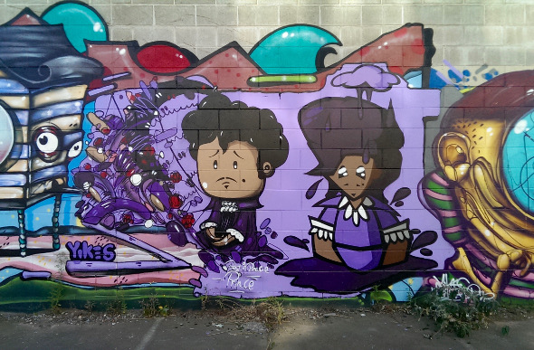 Street art on a wall in Christchurch. Picture: Lindsay Chan