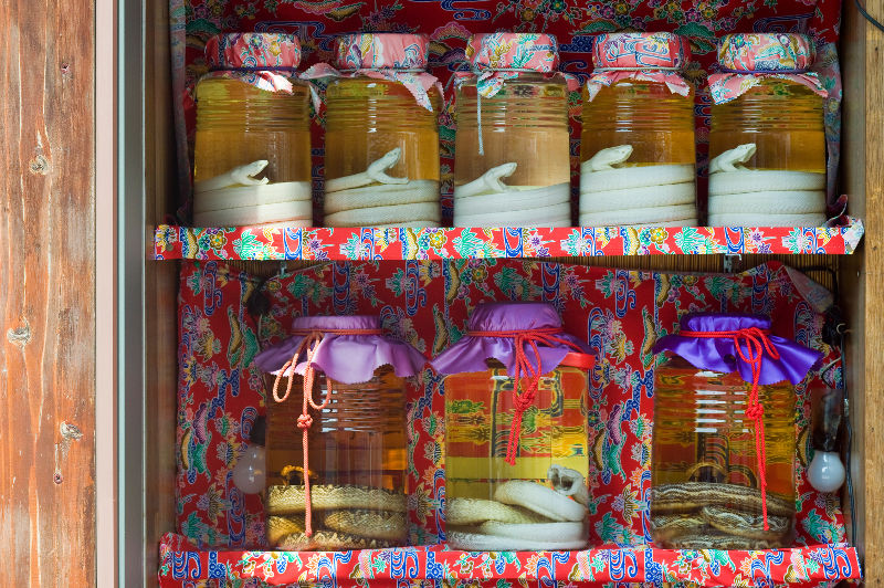 Rows of jars containing the liquor awamori and a snake in Okinawa, Japan.