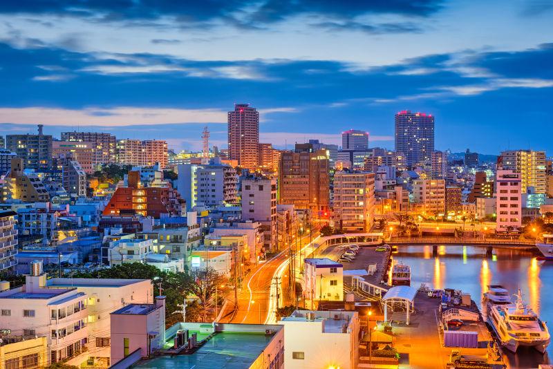 Naha, the capital of Okinawa, at dusk.