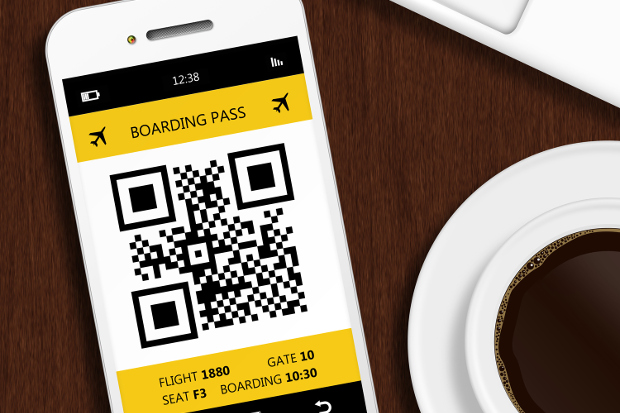 Smartphone displaying a boarding pass