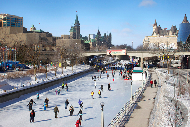 Ice-skating at Rideau Canal in winter