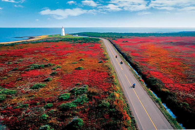 Driving in Miscou Island, New Brunswick, in autumn