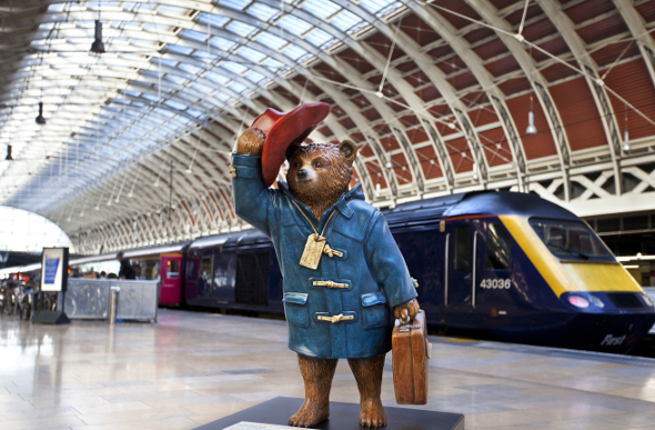 Paddington Bear statue on Platform One at Paddington Station