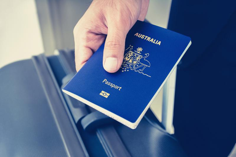A person holding an Australian passport