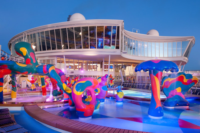 The H20 Zone water park on board a Royal Caribbean cruise ship.