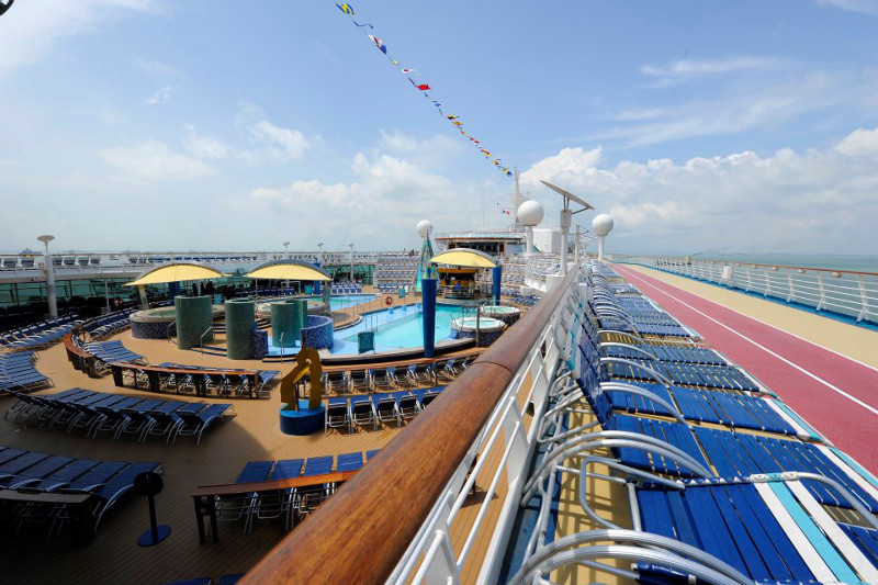 The top deck of a Royal Caribbean cruise ship.