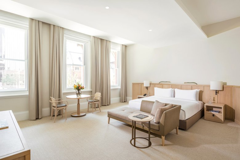 Image of a very spacious room at the COMO in Perth with minimal design