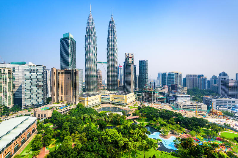 KLCC Park provides a green haven at the base of the Petronas Twin Towers.