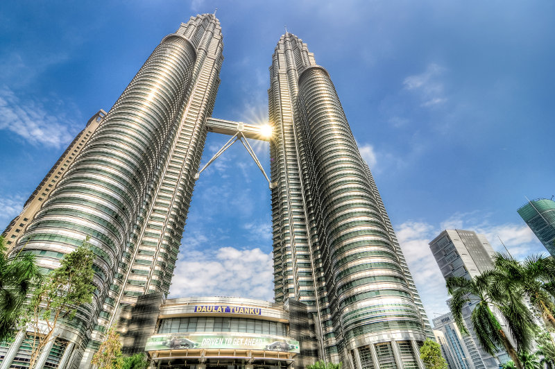 A view of the skybridge, which links the Petronas Twin Towers, in Kuala Lumpur, Malaysia.