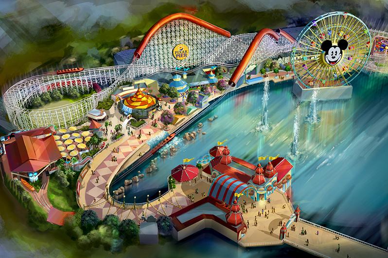 An artist's rendition of Pixar Pier at Disneyland Resort, California.