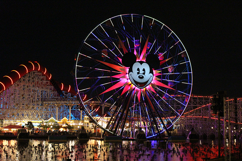 Pixar Pier lights up at night in Disneyland California Adventure Park