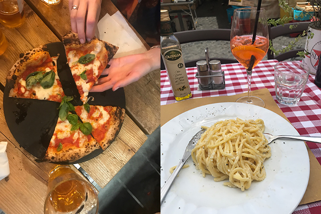 Pizza and pasta in rome are delicious