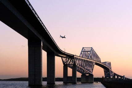 Brisbane to Tokyo Flight Passing Bridge